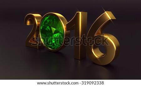 New year 2016 illustration with emerald gemstone - stock photo