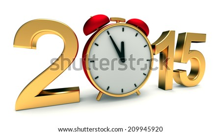 New year 2015 illustration with red clock - stock photo