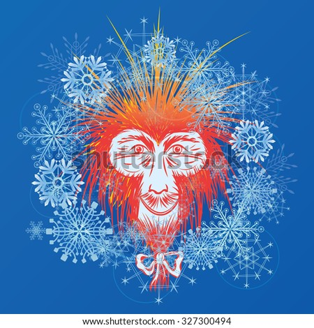 New Year illustration with stylized Japanese macaque and snowflakes  - stock photo