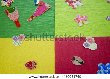 New Year image with origami and paper cutout - stock photo