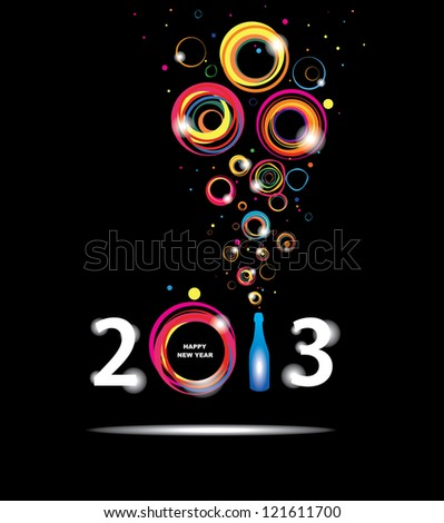 New year 2013 in black background. Abstract poster. Raster version - stock photo
