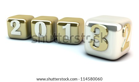 New year 2013 in cubes - stock photo