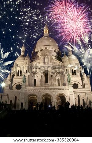 New Year In Paris - Sacre Coeur and fireworks - stock photo
