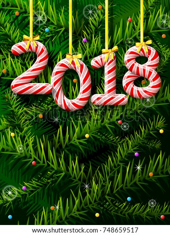 New Year 2018 in shape of candy stick against pine branches. Year number like holiday candies. Best illustration for new years day, christmas, winter holiday, sweet-stuff, new years eve, food, etc
