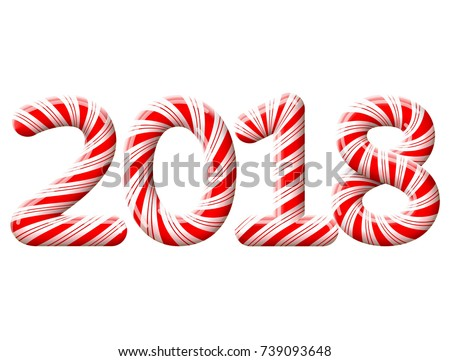 New Year 2018 in shape of candy stick isolated on white. Year number as striped holiday candies. Design element for christmas, new years day, sweet-stuff, winter holiday, new years eve, food, etc
