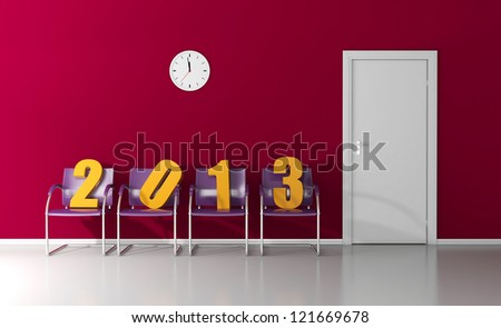 New year 2013 in the waiting room - stock photo