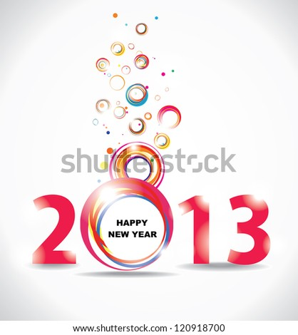 New year 2013 in white background. Abstract poster. Raster version - stock photo