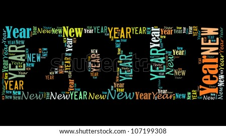 New year 2013 info-text graphics arrangement on black background - stock photo