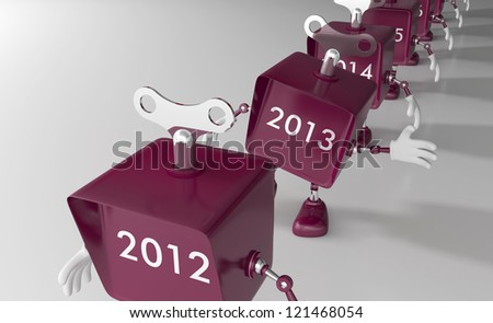 New Year 2013 is approaching - Mechanical toy robots