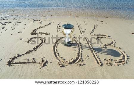 New year is coming on a sand beach of Eilat, Israel - stock photo