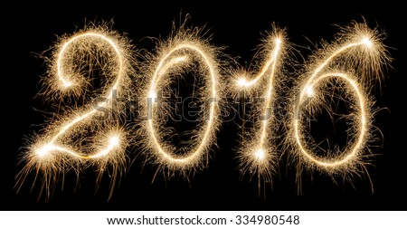 New Year - 2016 made a sparkler - stock photo