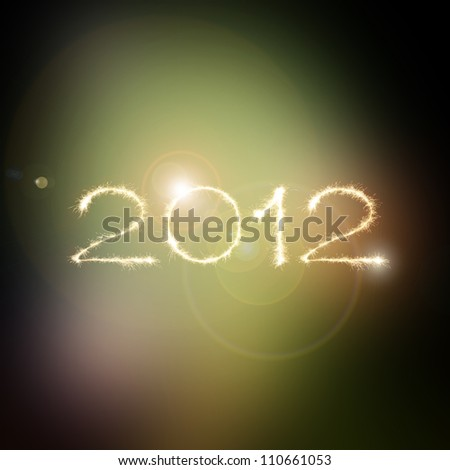 New Year 2012 made from the light streaks of moving sparklers in space