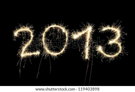 New Year 2013 made of real sparkles. - stock photo