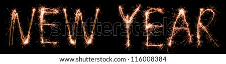 NEW YEAR made of sparkles. Sparkles words collection. - stock photo