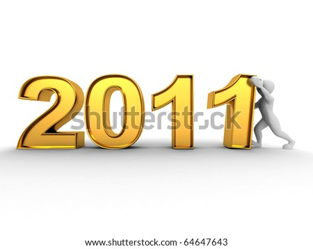 New Year. Men with numbers 2011. 3d - stock photo