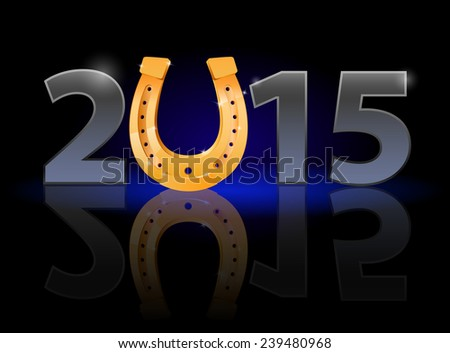 New Year 2015: metal numerals with golden horseshoe instead of zero having weak reflection. Illustration on black background.  - stock photo