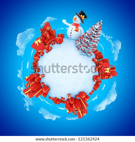 New Year mini planet concept with copy space. Snowman with fir and gifts. - stock photo