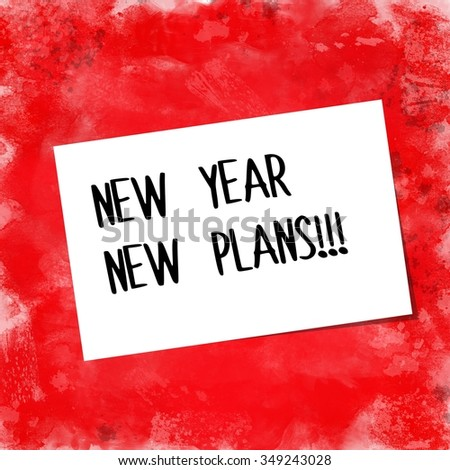 New year, new plans written on white paper note over red background - stock photo