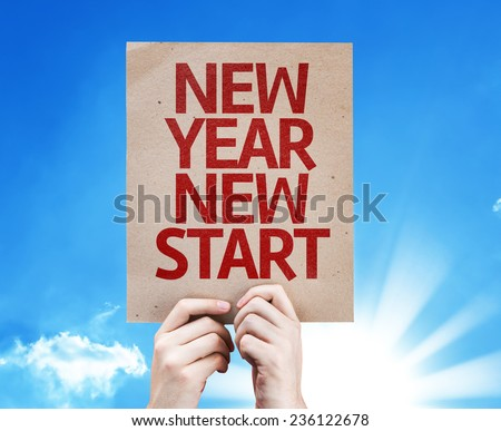 New Year New Start card with summer day background - stock photo