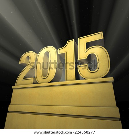 new year 2015 New Year's day pedestal with number in spotlight