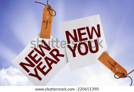 New Year New You on Paper Note on sky background - stock photo