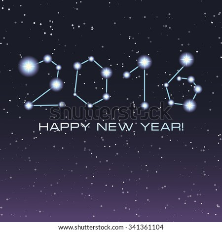 New Year night background with letters written as a milky way with stars. Merry Christmas and Happy New Year Card. Night sky with stars. Astrology. Dark background.