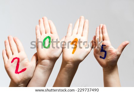 New Year 2015 - numbers on the hands - stock photo