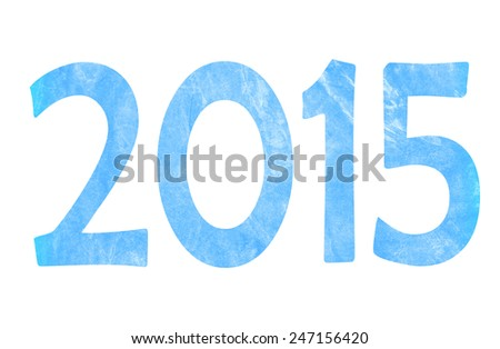 New Year 2015 of blue texture of the concrete wall with scratches on white background .Texture of the concrete wall in shape of number 2015. design element for new year's day, Christmas, winter - stock photo