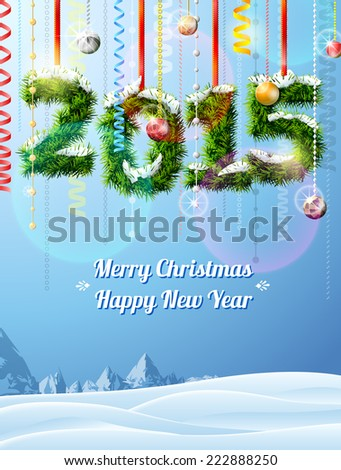 New Year 2015 of twigs like christmas decoration. Winter landscape with christmas congratulation. Qualitative illustration for new year's day, christmas, winter holiday, new year's eve, silvester, etc - stock photo