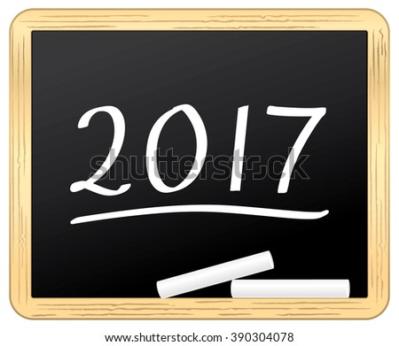 New Year 2017 on a school slate. icon. - stock photo