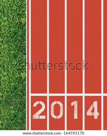 New Year 2014 on running track from top view - stock photo