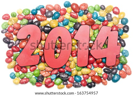 new year 2014 on sweet candies background