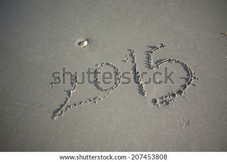 New Year 2015 on the Beach Sand - stock photo