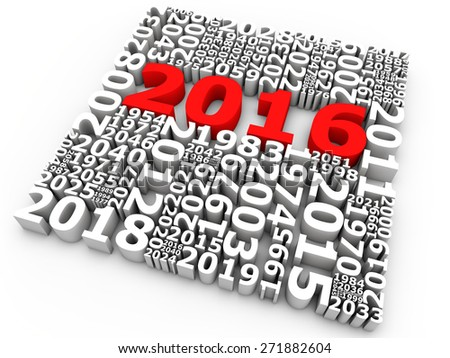 New year 2016 over white background - stock photo