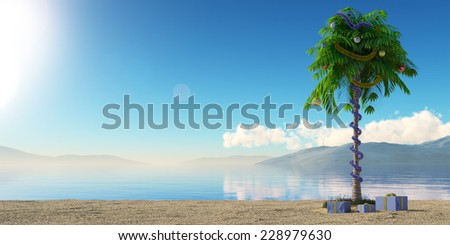 New Year palm tree with decoration concept holiday background - stock photo