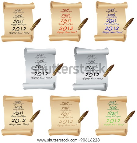 New Year Parchment set - stock photo
