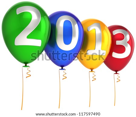 New 2013 Year party balloons decoration banner multicolor. Happy New Year calendar date lucky greeting card. Detailed 3d render. Isolated on white background. - stock photo