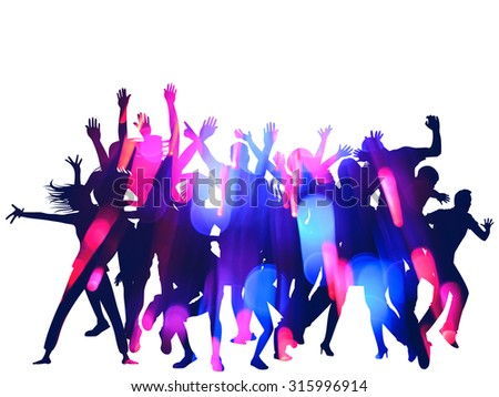 New Year Party Silhouettes and Bokeh Design with double exposure effect - stock photo