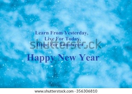 New year quotes on blue background