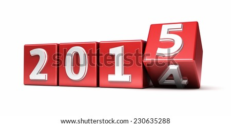 New Year 2015 red cube render isolated on white and clipping path - stock photo