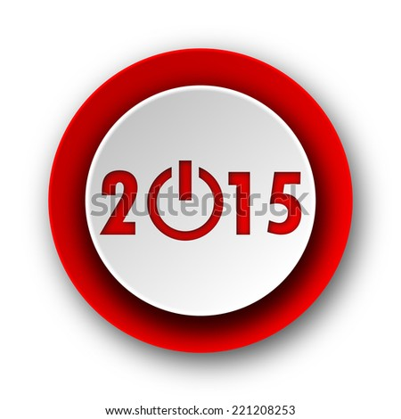 new year 2015 red modern web icon on white background
