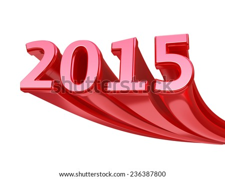New Year 2015 red render (isolated on white and clipping path) - stock photo