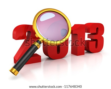 new 2013 year red symbol under magnifier