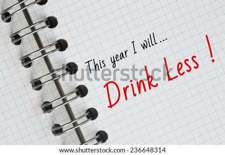 New Year Resolution, Drink Less. - stock photo