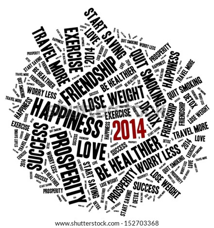 New Year Resolution in word collage - stock photo
