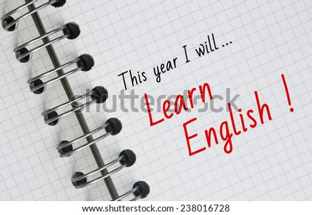 New Year Resolution, Learn English. - stock photo