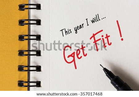 New Year Resolution, This year I will... Get Fit ! - stock photo