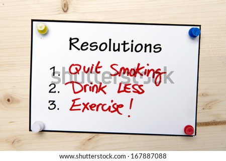 New year Resolutions Handwritten Note for a Healthy Life - stock photo