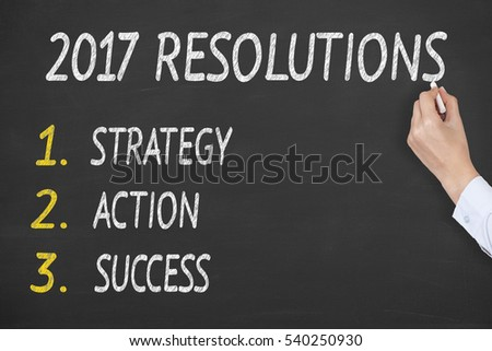New Year 2017 Resolutions on Chalkboard