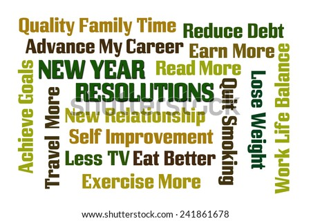 New Year Resolutions word cloud on white background - stock photo